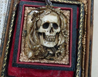 ON HOLD:  Vintage Memento Mori Skull Pendant, The Notre Dame, Grand Dame, offered by RusticGypsyCreations