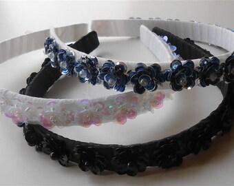 Sequin Headbands, White Sequins Flower Headband, Wedding Tiaras Headpieces, White / Blue / Black Sequins Flowers Headbands