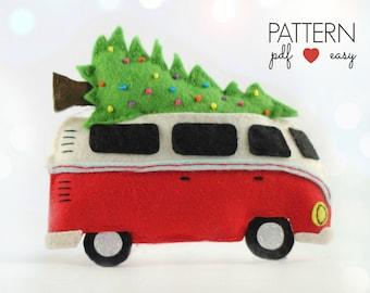 VW Bus Camper Christmas Ornament, VW Combi Decoration, Felt Christmas Ornament Pattern, Decoration Sewing Pattern, Camper Decor, Combi