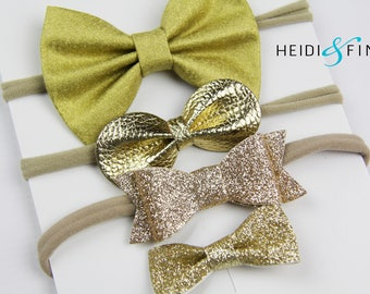 SALE Gold glitter leather Hairbow SET of 4 Hairclip headband Holiday golden new years christmas