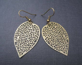 Antique Bronze Filigree Large Leaf Dangle Earrings