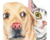 Dog and Cat Watercolour Painting - Fine Art Print, Photo Bomb, Funny Watercolor, Yellow Lab, Tabby Cat, Nursery Art
