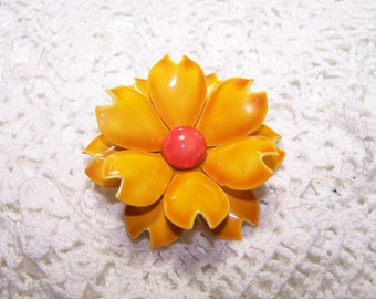 Vintage Yellow with Red Center Enamel Flower Brooch 3D Jewelry Large VTG Pin