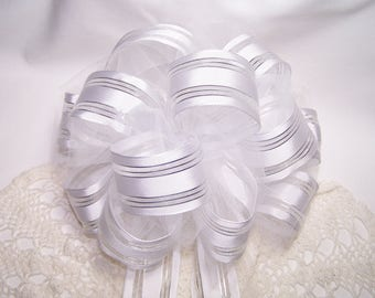 White with Silver Bow Handmade Wedding Anniversary Shower Pew Celebration Gift Decoration Party Ribbon Reception White Silver Tulle