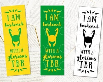 PRINTABLE BOOKMARKS Loki Inspired Yellow Green DIY Bookmarks for Bookworms Instant Download