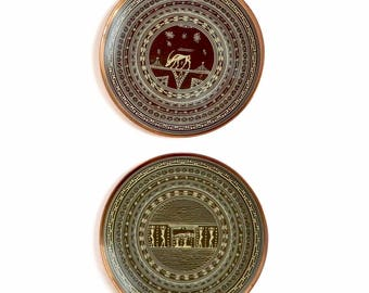 Antique Greek Large Decorative Copper Enamel Wall Hanging Plates Hand Painted Designs Burial & Antelope - Set of 2 - Signed GREECE 1928