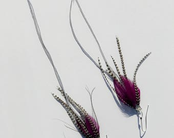"11"" Purple Grizz Chandelier Feather Earrings - Dark Purple Saddle Hackle with Long Lavender and Grizzly"