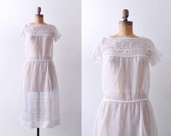 1920's cotton day dress. medium. sheer. 20's white dress. lace. summer.