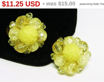 Lemon Yellow Beaded Earrings - Clip on's Made in Western Germany - Lucite Plastic Bead  Clusters - Round Button Style Vintage Jewelry