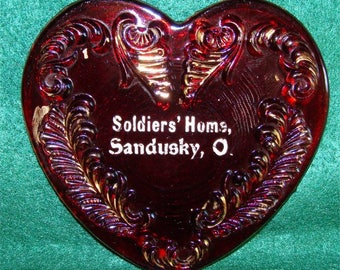 1890 RUBY Flashed / Stained EAPG Heart Shape LID for Trinket Box Souvenir Civil War Veteran's Home Sandusky Ohio