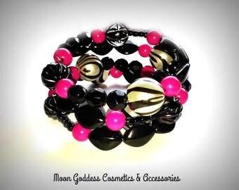 Pink Zebra Party Memory Wire Bracelet