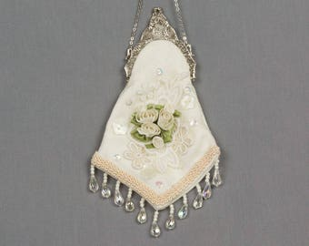Vintage Evening Bag White damask fabric Silver purse frame Lace flowers White ribbon roses/leaves Small evening purse Victorian evening bag