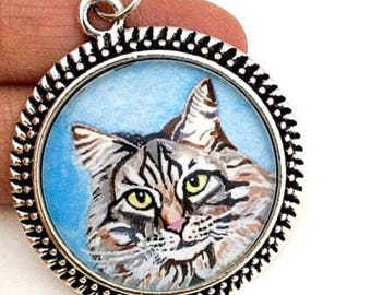 Custom Cat Necklace - Custom Portrait Necklace - Cat Portrait - Cat Painting - Custom Pet Necklace - Cat Memorial Jewelry - Cat Lover Gift