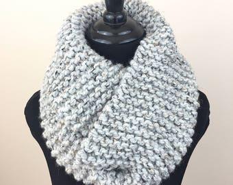 Knit Infinity Scarf in Flecked Grey