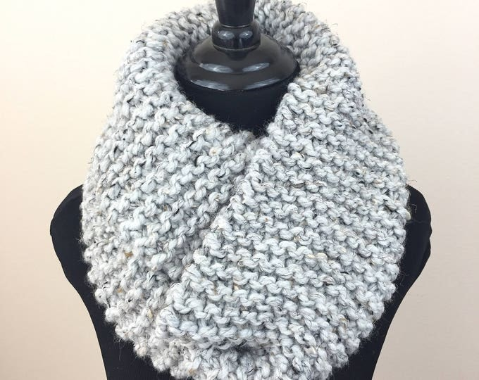Knit Infinity Scarf in Flecked Grey