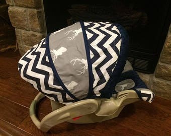 Bundle Beautiful Soft Comfortable Baby Boy Infant Car Seat Cover Diaper Bag Navy Blue minky Chevron Deer Head Silhouette Gray Background