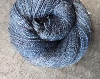 Verdigris and Slate - Hand Dyed Merino Silk Lace Yarn