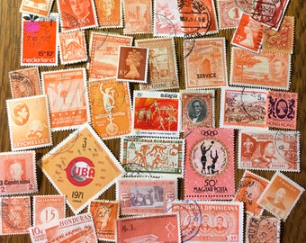 40 Worldwide Orange Used Postage Stamps for paper crafting, collage, cards, scrapbooking, scrapbooks, decoupage, stamp collecting 3d