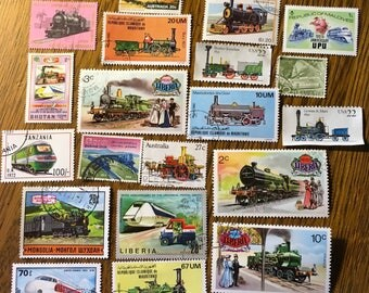 20 Vintage TRAIN Postage Stamps for crafting collage altered art journals scrapbooks philately commemorative stamps 1e