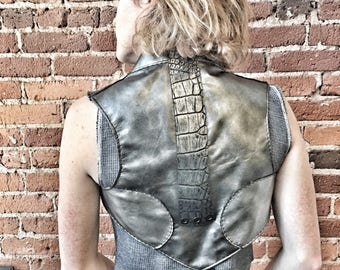 Charcoal Leather/ Leather Vest/ Festival Vest/ Futuristic Metallic Leather/ Bolero Vest