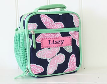 Lunch Bag With Monogram Classic Style Pottery Barn -- Navy/Green Butterfly
