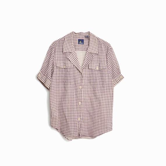 Vintage 90s Gingham Plaid Shirt in Plum Purple / Short Sleeve - women's small