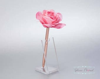 Cream Pink Rose Guestbook Pen. Rose Gold Wedding Pen Set Wedding Pen Holder Real Touch Rose Flowers two tone pink blush. Tea Rose Collection