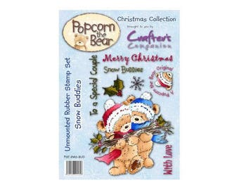 Popcorn the Bear Christmas Collection Snow Buddies Stamp Set   - Crafter's Companion