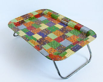 Mid Century Metal Litho Lap Tray - Patchwork Quilt Graphics