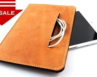 ON SALE >> Hand stitched 7 inch Tablet Leather Sleeve Case in CAMEL