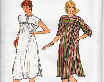 Butterick 4391 Vintage Rare 1980s Easy Loose fitting Pullover Dress, Gown Cover Up Lounge Dress Shaped hem Size 18 20 22 Uncut