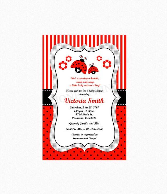 Ladybug baby shower invitation ladybug shower invites red black il570xn filmwisefo