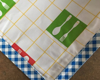 Rectangle Forks and Spoons Yellow Oilcloth Tablecloth with Blue Gingham Trim