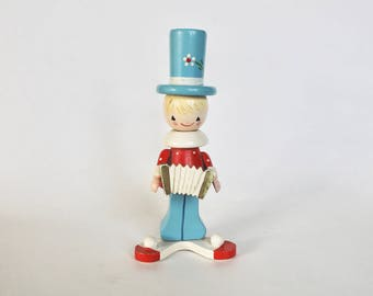 Vintage 1950's/1960s Wooden Accordian Boy Candle Holder