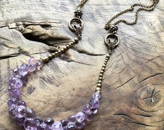 Lavender Amethyst necklace, facetted sparkling briolettes, antique brass