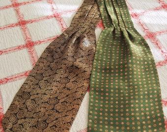 Reversible Silk Ascot Necktie Vintage Navy Paisley or Green