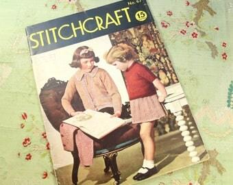 Vintage Stitchcraft 1930s knitting book catalog pattern children  ladies 30s 40s 1938 issue march 1938 no. 67 home journal
