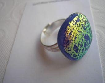 Dark Blue Ring with Gold Dichroic Scribbles Statement Ring Adjustable Silver Plated Ring Iridescent Fused Glass Jewelry Dichronic Glass Boho