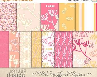 90% OFF Sale Digital paper, Digital Scrapbook paper pack - Instant download - 12 Digital Papers - Pink Hayfever