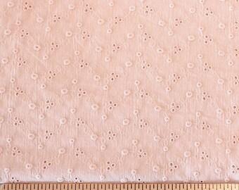 Dusty Pink Chevron Dot Eyelet Woven Cotton, 1 Yard