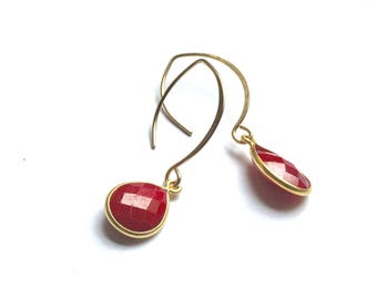 Ruby and Gold Filled Lotus Ear Wire Earrings