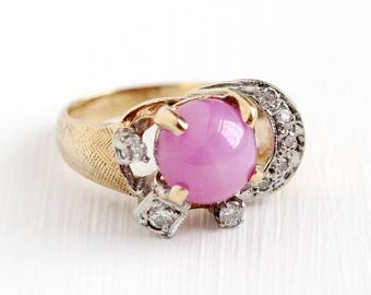Created Star Sapphire Ring - Vintage 14k Rosy Yellow Gold Crescent Moon Diamond Fine Jewelry - Size 3 1/2 Retro 2.72 CT Pink Round Cabochon