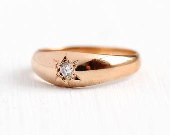 Antique Diamond Ring - 14k Rose Gold Gypsy Star Set Genuine Diamond Midi - Vintage Size 1 1/4 Petite Child's Brilliant Cut Fine Jewelry