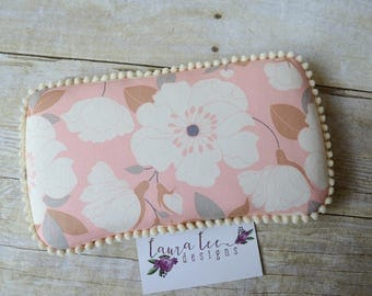 READY TO SHIP Pink and Cream Magnolia Floral Travel Baby Wipe Case, Baby Shower Gift, Diaper Wipecase, Personalized Wipe Holder