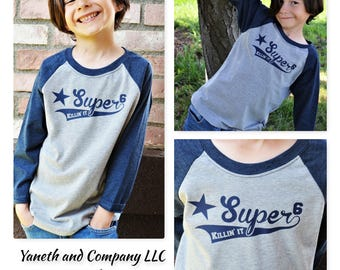 Super 6 Killin' It Baseball Shirt,Birthday Boy Custom shirt,6 years old Birthday shirt,Super 6 Raglan,Killin' it baseball shirt,Super 6 tee
