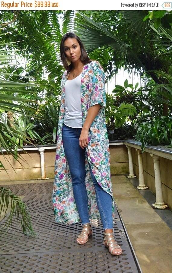 KAFTAN 20% SALE/ Floral Print Kimono, Jacket, long Jacket, Marrakech Kimono, Robe, Beach Kimono, Winter Jacket, Bohemian, Moroccan Jacket,Lo