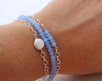 blue stone and pearl stacking bracelet set of 3