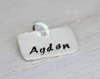 stamped name tags, multiple size options, rectangle tags, sterling silver name pendant, gold name tag, personalized discs, malisay designs