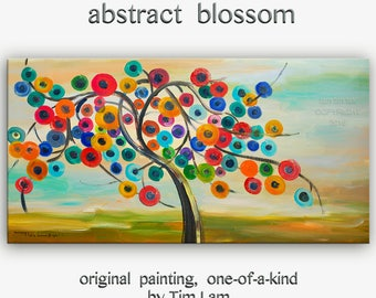 "Huge original Acrylic Painting modern art Abstract Blossom Modern Impasto Texture canvas by Tim Lam 48"" x 24"""