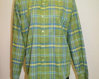 Vintage Mens 60's Green Plaid Square Hem Casual Dress Shirt  - Size Medium